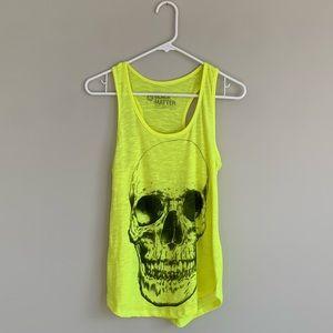Tops - Neon Yellow Skull Tank Top Medium
